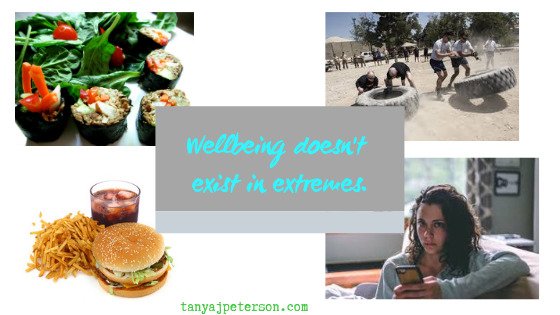 "Wellbeing isn't all-or-nothing, desipite how it might seem. Stop prressuring yourself and feeling guilty when you don't follow the ""rules."""